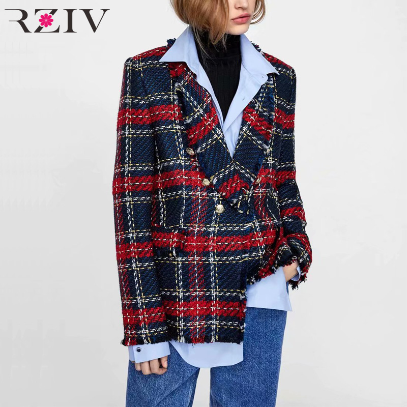 RZIV Autumn And Winter Women's Suit Casual Plaid Stitching Double-breasted Tassel Decorative Suit