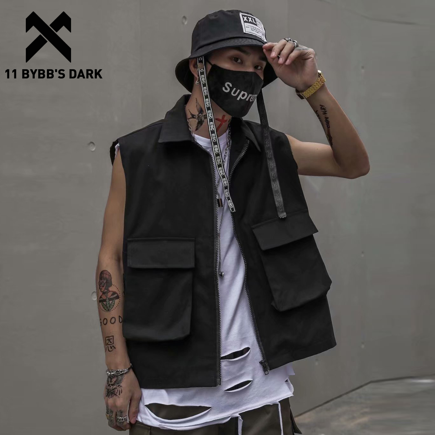 11 BYBB'S DARK Vintage Multi Pockets Tactical Vest Men Fashion Hip Hop Sleeveless Tops 2020 Streetwear Harajuku Male Cargo Coats