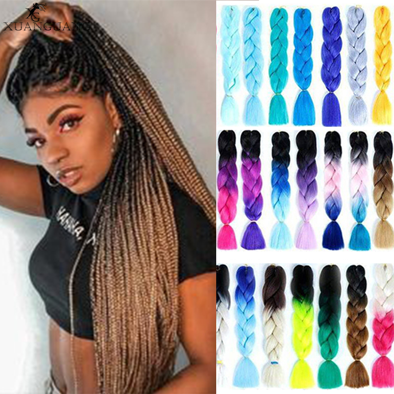 XUANGUANG Pink Blue Blonde Color Synthetic Jumbo Braids Ombre Braiding Hair White For Women Hair Extension