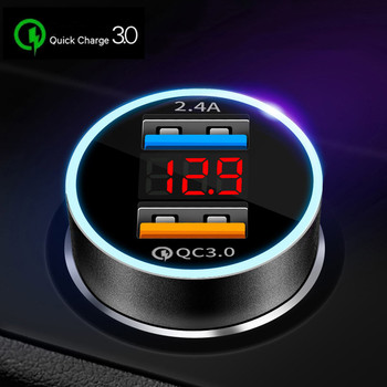 Dual USB Car Charger for iPhone XR XS Max Xiaomi Samsung Quick Charge 3.0 Fast Charging Car-Charger Phone Charger Adapter in car original cyke car charger 30w quick charge 3 0 5v 2 4a dual usb 9v 2a 12v 1 5a for android ios for iphone samsung phone charger