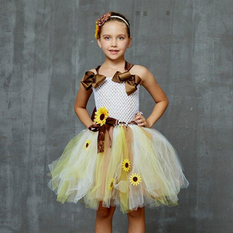 Sweet Sunshine Sunflower Tutu Dress with Matching Headband Flower Girl Bridal Birthday Pageant Costume Kids Autumn Dresses (3)