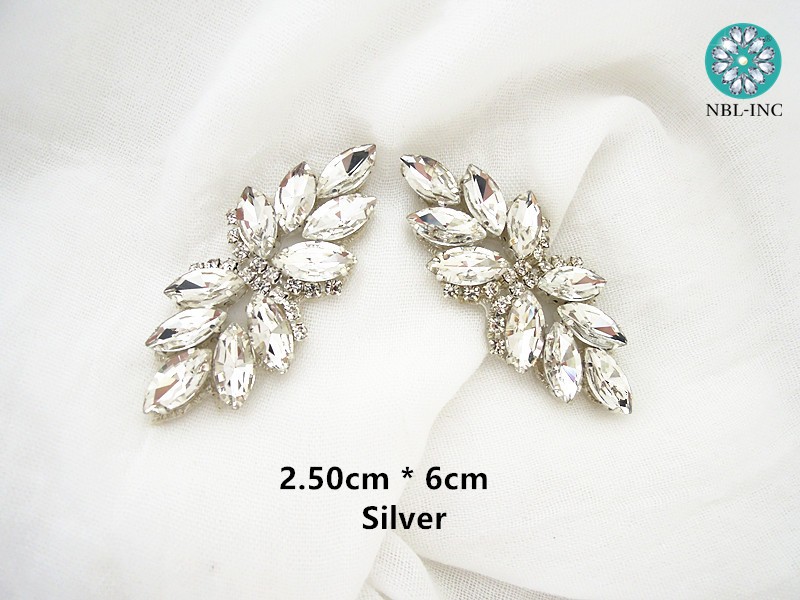 (2pcs/lot) Silver gold rhinestone bridal belt wedding applique rose gold DIY sew on iron on for wedding dress WDD0830