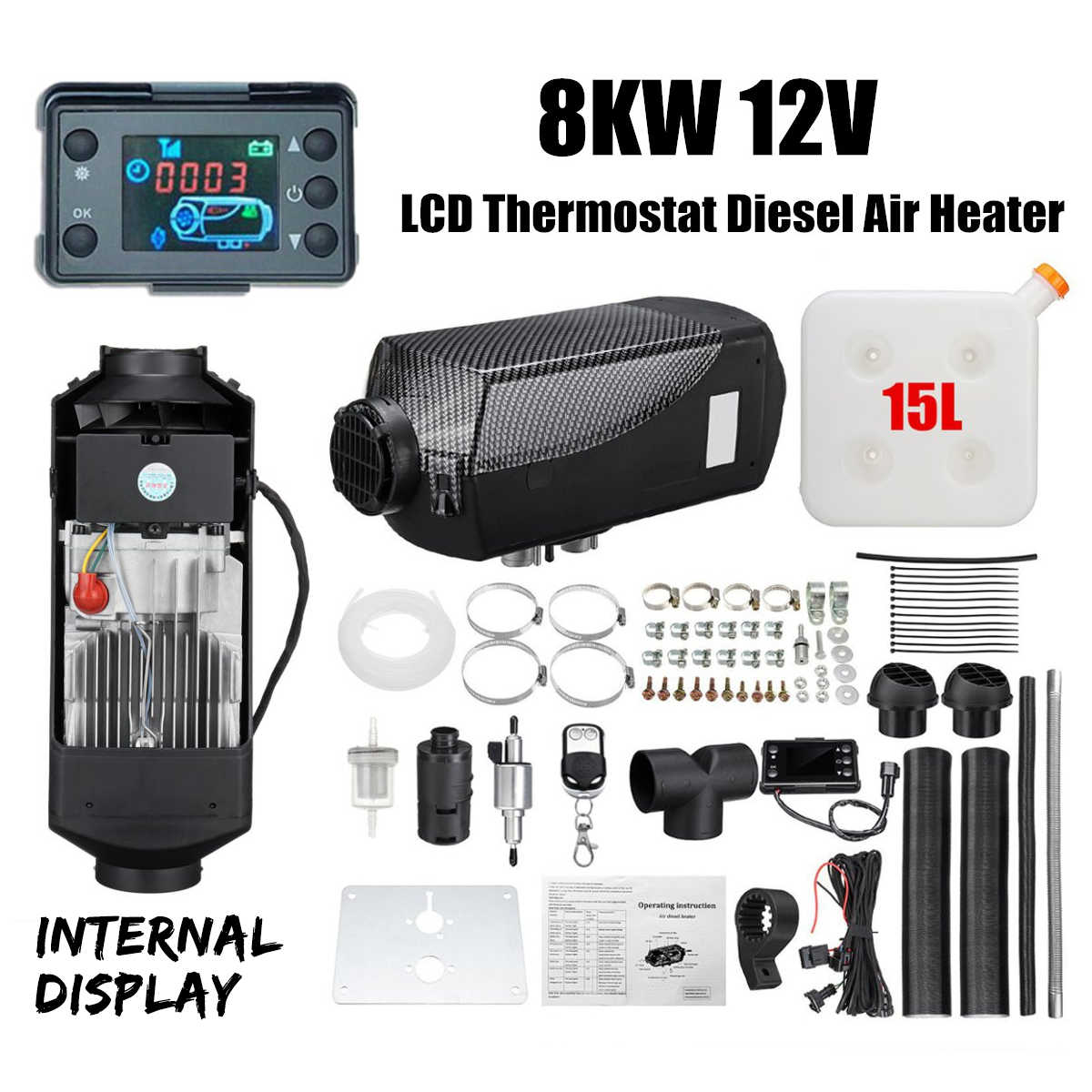 Silencer VEVOR 12V 8KW Diesel Air Heater Diesel Fuel Heater 12V All in One Diesel Air Heater with LCD Switch Remote Control Single Air Outlet for Car Trucks Motor-Home Boat Bus CAN
