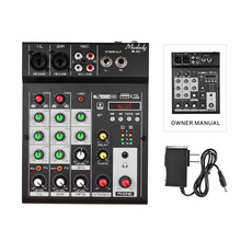 Digital-Audio-Mixer Reverb-Effects 4-Channel Muslady Console Power-Supply Portable Built-In
