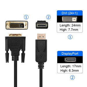 Image 3 - Displayport DP do DVI kabel 1080P DP do DVI D 24 + 1 z męskiego na męskie przewód konwersji do projektora TV Monitor PC Laptop 1.8M czarny