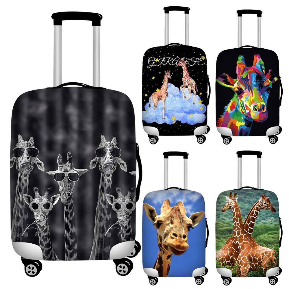 Travel Luggage Cover Wild Zoo Giraffe Head Suitcase Protector