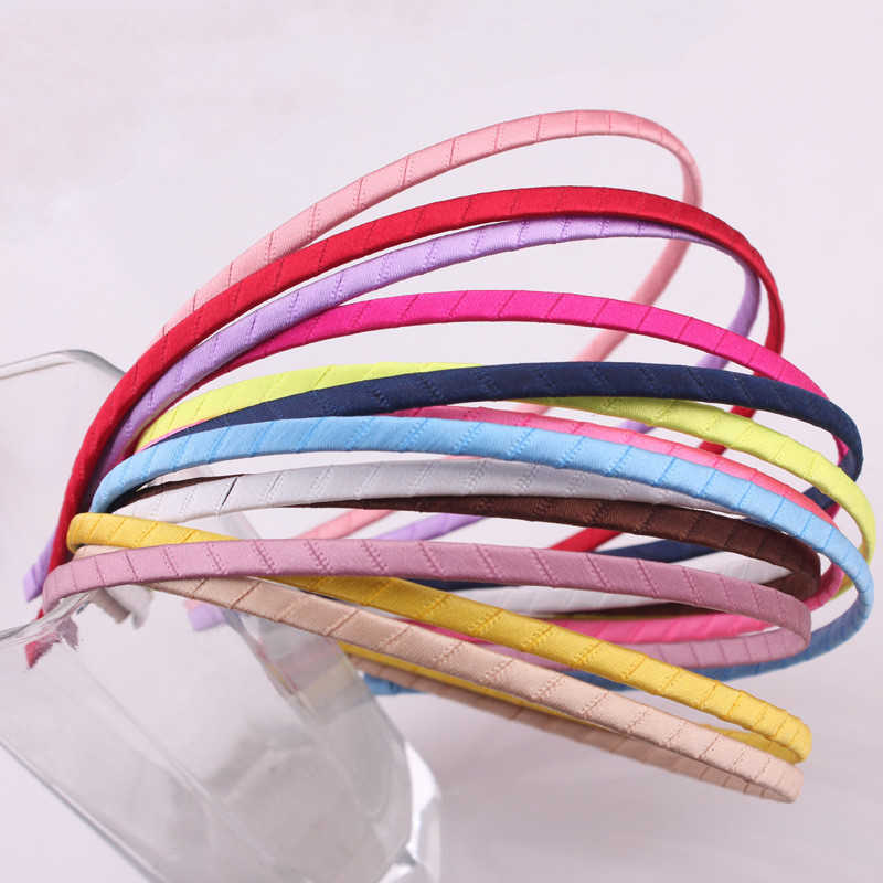 10pcs/pag 5mm Lady Fashion Colorful Plastic Headbands Girl Headwear DIY Satin Covered Head Hoop Hair Tool  Accessories Wholesale