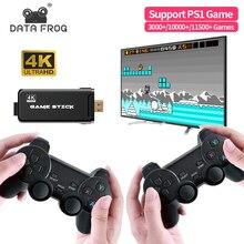 Data Frog – Console de jeu vidéo rétro, avec manettes sans fil 2.4 go, 10000 jeux vidéo, 4K HD, pour PS1/SNES