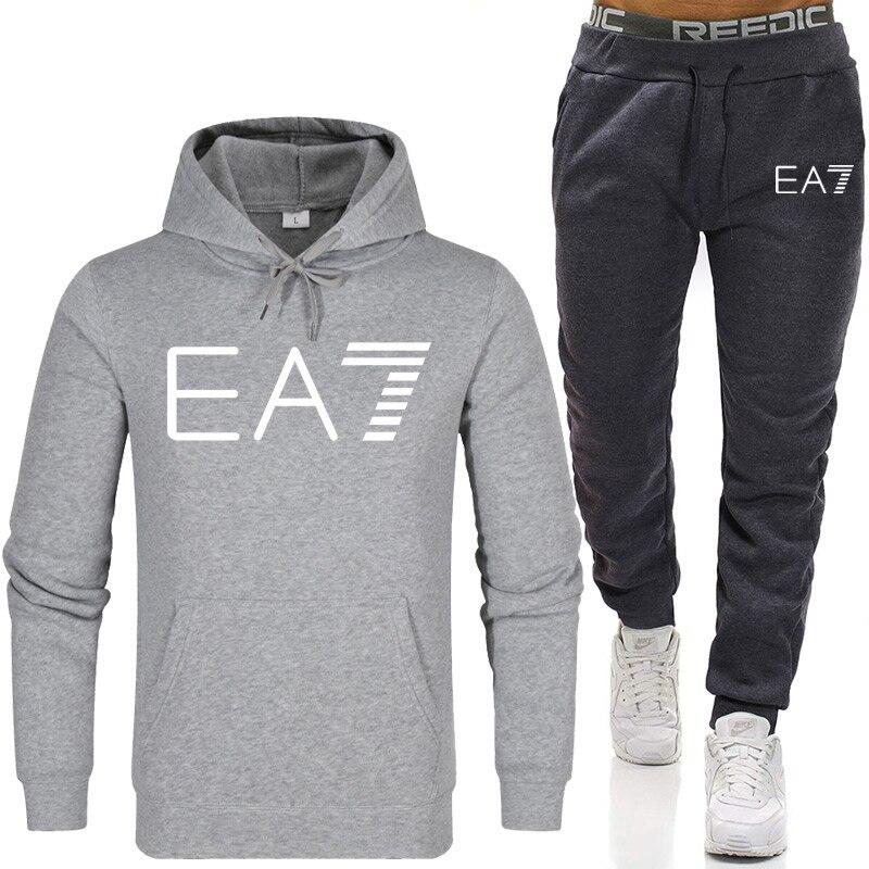 Men's Sets Sportswear Thick Hoodie+Pants Sport Suits Casual Sweatshirts Tracksuit Male Sportswear Gyms Fitness trouser 2020 New