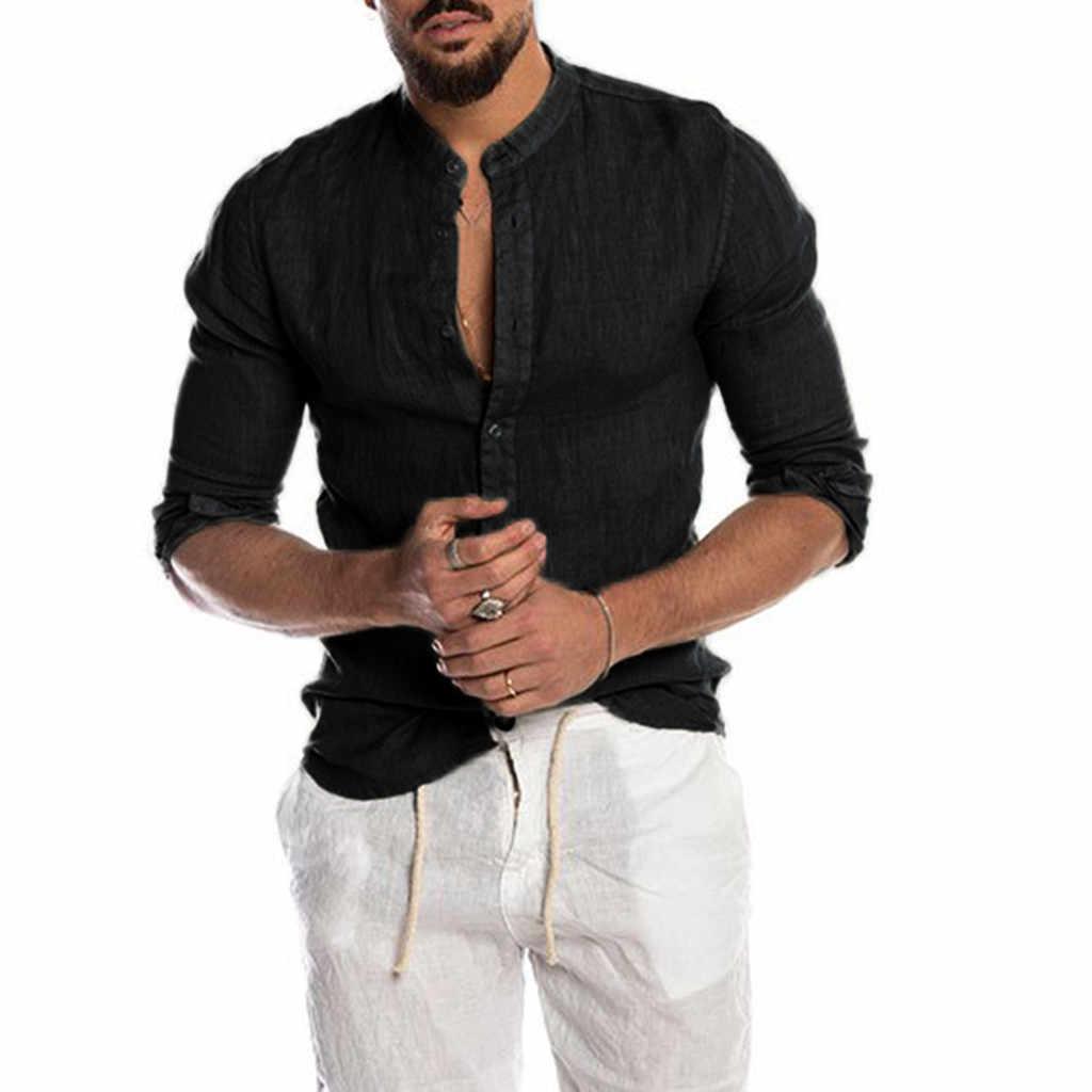 Năm 2020 Nam Mùa Hè Dân Tộc Linnen Áo Sơ Mi Vintage Chắc Chắn Tay Dài Rời Áo Giày Lười Phù Hợp Với Áo Sơ Mi Thời Trang Рубашка
