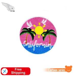 Розовая пляжная вышитая нашивка на открытом воздухе наклейка с утюгом Калифорния передние нашивки для одежды значок для детей Детская аппл...