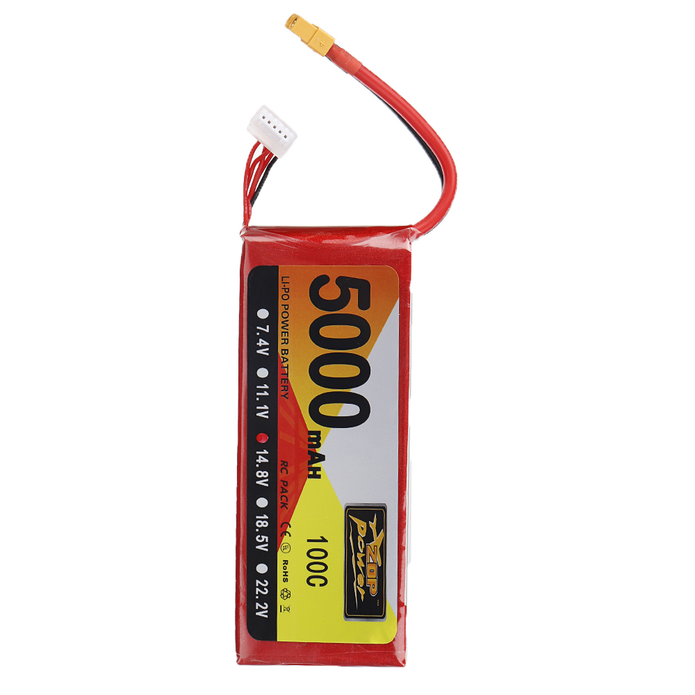 2pcs ZOP Power 14.8V 5000mAh 100C 4S Lipo Battery XT60 Plug for RC Drone Car Airplane Helicopter Multicopter FPV X-class image