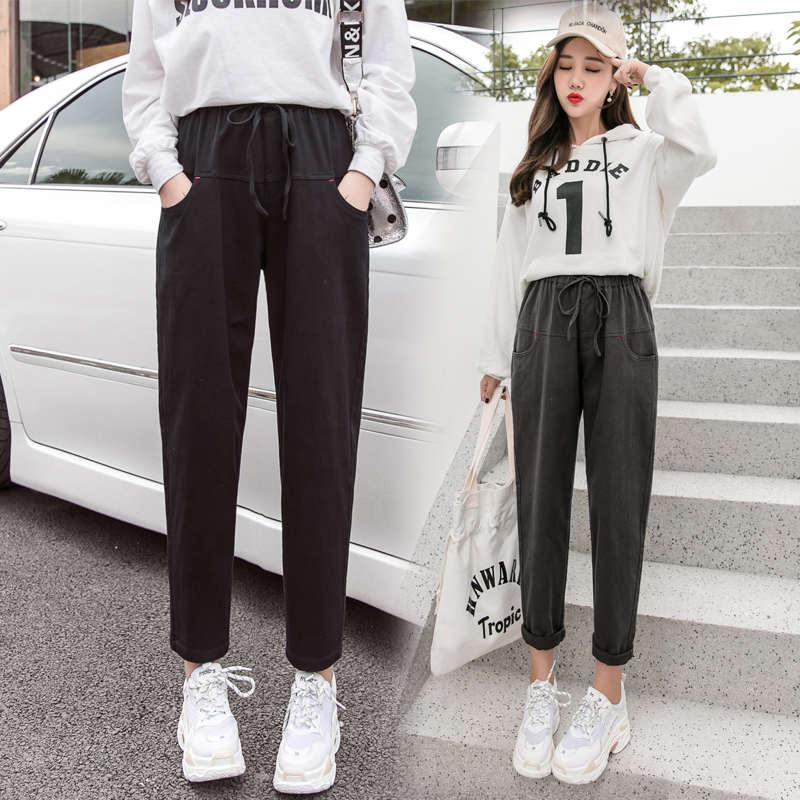Nova primavera 2019 das meninas do estudante calça casual, harlan calças largas calças cargo e elegante com cintura apertada e pés magros