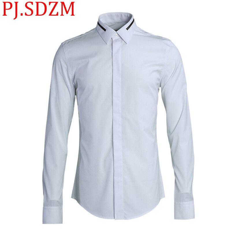 Новинка 2018, мужские рубашки с воротником и вышивкой, тонкая работа, сплошной цвет, европейский и американский стиль, облегающий крой, длинны...