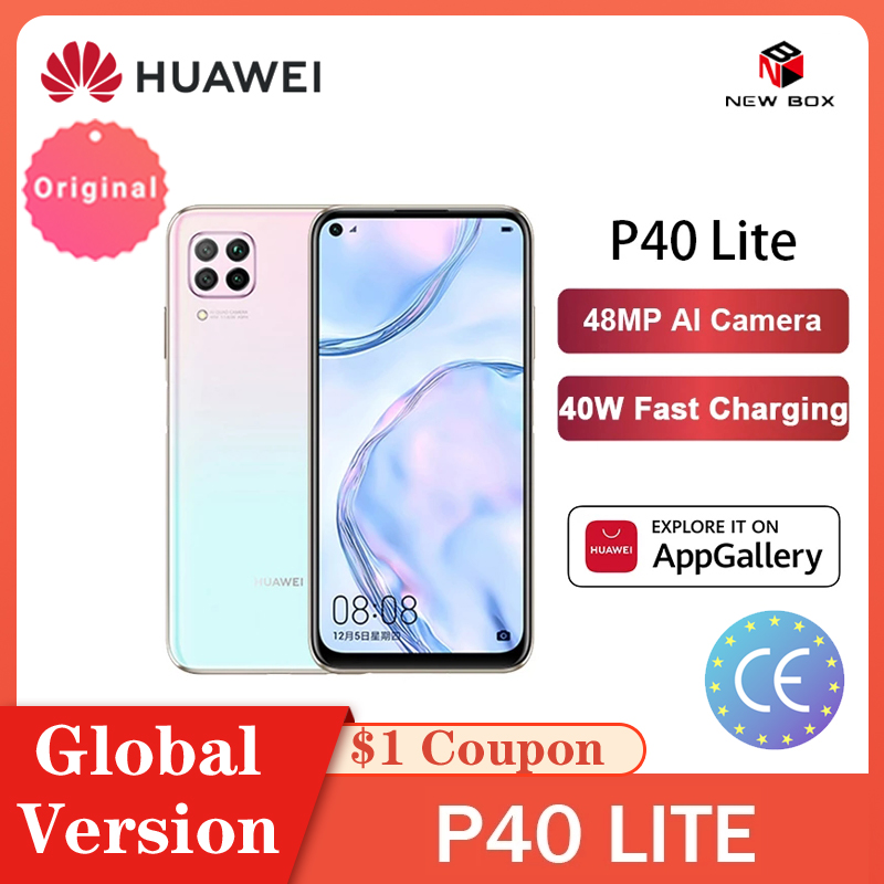 Global Versão Huawei P40 lite 6GB 128GB Smartphones 48MP AI Câmeras Kirin 810 Octa Núcleo de 6.4 Tela FHD 40W QC الهاتف الخلوي