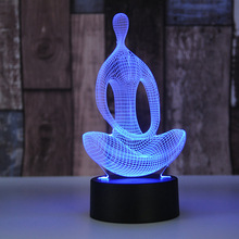 Yoga Meditator 3D Night Lamp Colorful Touch USB Battery Power LED Home Lamps Changable ABS Acrylic Black Bottom Colorful