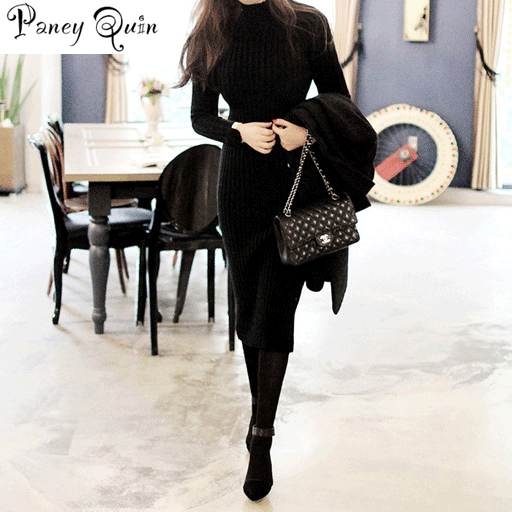 Winter Sweater Knitted long red Dresses Slim Elastic Turtleneck Long Sleeve Sexy Lady Bodycon Robe Dresses  2