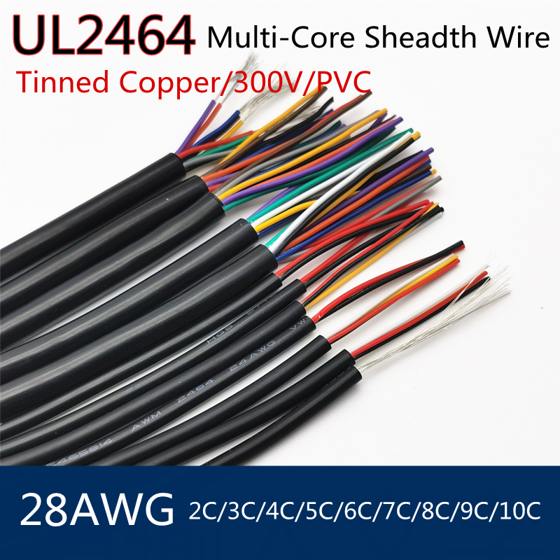 2M/5M 28AWG UL2464 Sheathed Wire Cable Channel Audio Line 2 3 4 5 6 7 8 9 10 Cores Insulated Soft Copper Signal Control Wire