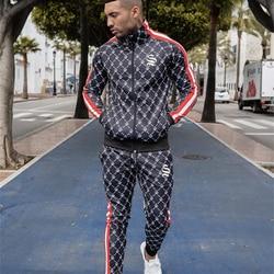 Мужской Новый стильный спортивный костюм с вертикальным воротником, трендовые куртки-кардиганы + повседневные Индивидуальные брюки с мале...
