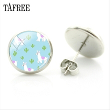 TAFREE no drama llama blue earrings Fashion animal safety pin baby shower sheep pendientes mujer set for women party NT184