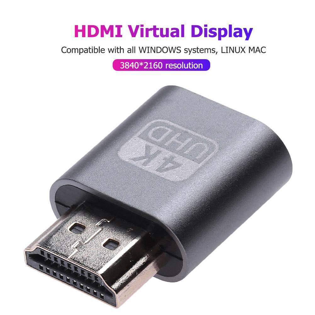 HDMI Virtual Display Adapter 1.4 DDC EDID Dummy Plug Lock Graphics Card GPU Rig Emulator Simulator for Bitcoin BTC Mining Miner