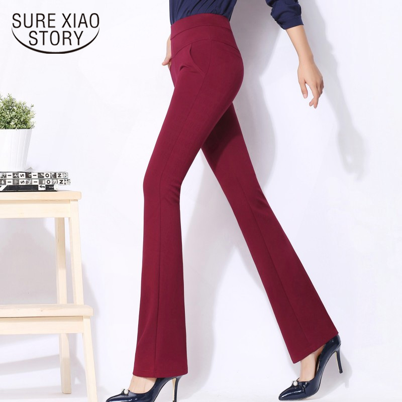 Plus Size Loose Leisure   Wide     Leg     Pants   Women Flare   Pants   High Waist Solid Autumn Spring 2019 New Suit Trousers Straight 7077 50
