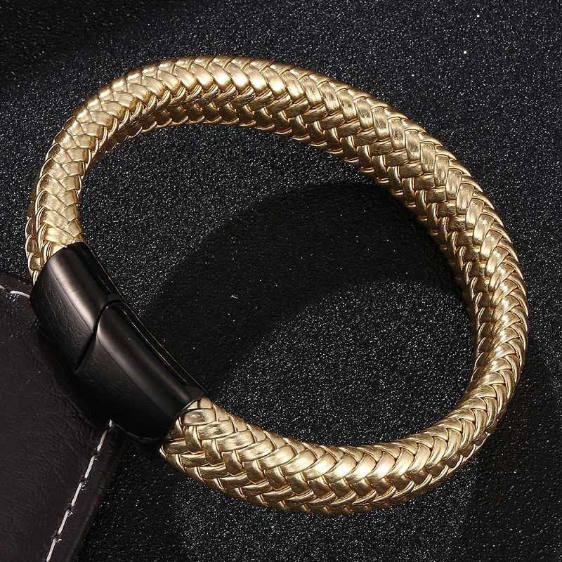 גברים תכשיטי שחור/זהב/כסף צבע נירוסטה מגנטי אבזם זהב עור קלוע צמיד זכר להקת יד צמידים