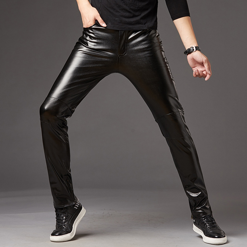 Sexy Mens Punk Elastic Tight Trousers PU Faux Leather Shiny Glossy Stage Pants