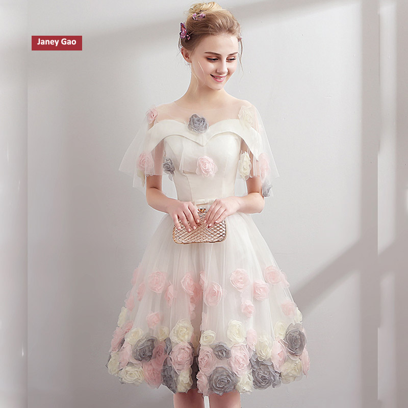 JaneyGao Short Prom Dresses Women Formal Gown For Evening Party Sweetheart Backless Ball Gown White 2019 New Stylish In Stock