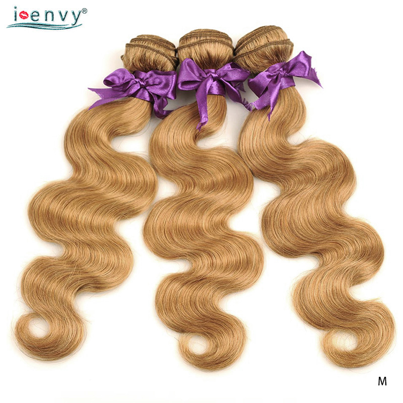 Image 4 - I Envy Blonde 바디 웨이브 번들 브라질 헤어 위브 번들 #27 Colored 1 3 4 Bundles Deals Non Remy Honey Blonde Human Hair헤어 위브즈   -