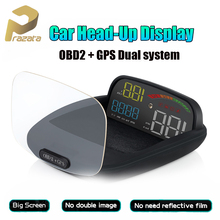 Prazata Hud OBD2 Car Automobile On-board Computer C800 2 in 1 GPS OBD HD Speed Projector Digital Speedometer Head Up Display p10 hud obd gps computer car speed projector digital speedometer display smart meter rpm fuel temperature head up display