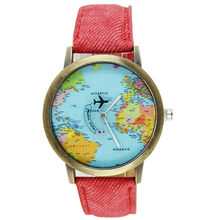Leather Strap Women Watches Bracelet Ladies Clock Global Travel By Plane Pattern Quartz Wrist Watches For Women Reloj Mujer(China)