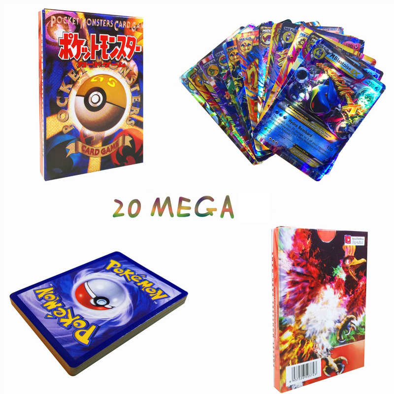 TAKARA TOMY Pokemon Flash Cards Original 20pcs MEGA Cover Flash Card 3D Version Card Collectible Gift Children Kids Toy