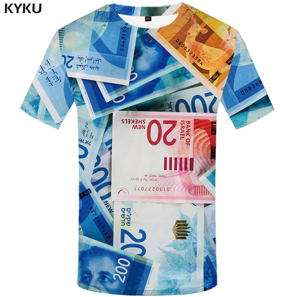 KYKU Brand Money T Shirt Men Harajuku T-shirts 3d Israel Tshirts Casual Abstract Tshirt Printed Gothic Shirt Print Mens Clothing