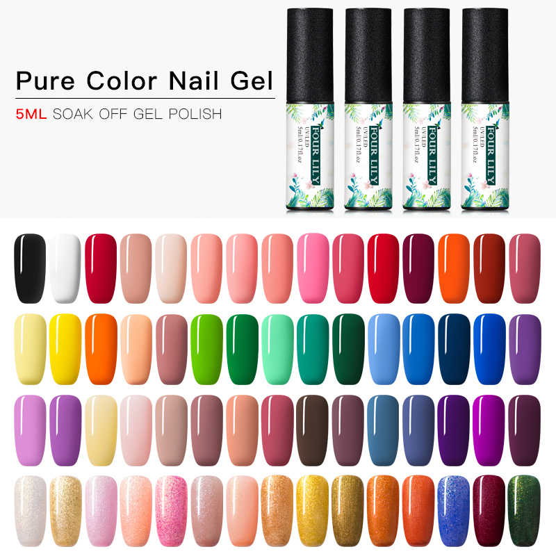 Vier Lelie Uv Led Pure Kleur Nagel Gel Polish Set Alle Voor Manicure 176 Kleuren Soak Off Nail Art Hybrid vernis Semi Permanente