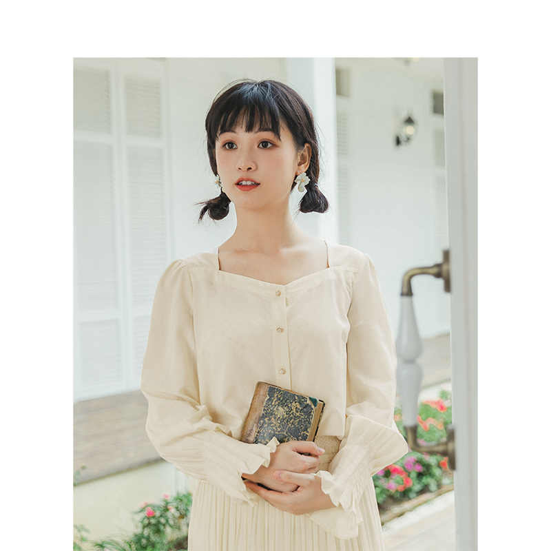 Inman 2020 primavera nova chegada literária retro quadrado pescoço chapeado solto manga longa blusa feminina