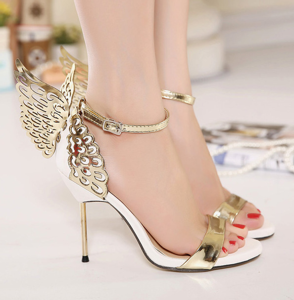 New Women pumps Butterfly Wings single shoes for women sexy peep toe high heel sandals party wedding shoes woman sandals