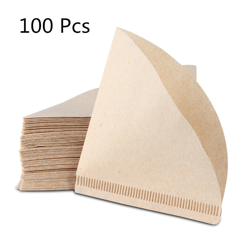 100 Pieces Eco-friendly Unbleached Original Wooden Hand Drip Paper Coffee Brewer V60 Coffee Filter Bag Coffee Maker Accessories