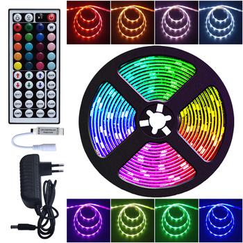 Taśma LED RGB 5050 SMD 2835 elastyczna wstążka Luces taśma świetlna Led RGB 5M 10M taśma LED DC 12V pilot Adapter tanie i dobre opinie KiloColor CN (pochodzenie) Salon 50000 Przełącznik Taśmy 4 w m Epistar 12 v Smd5050 ROHS TT01 5M Roll 30pcs m CR2025(not include)