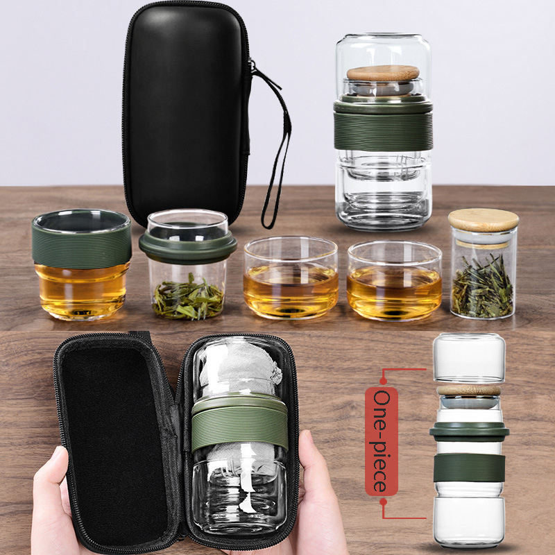 Bolsa de viaje de botella de agua juego de té de Kung Fu chino tetera gaiwan tazas de té de vidrio puer Vasos