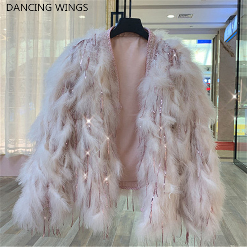 Shinny Sequins Tassel Women Real Fur Coat Genuine Ostrich Feather Fur Winter Warm Jacket Pink