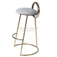 Nordic ferro rosa barra tamborete dourado cadeira de café simples moderno com volta volta plutônio conforto almofada sentado altura 75cm multicolorido