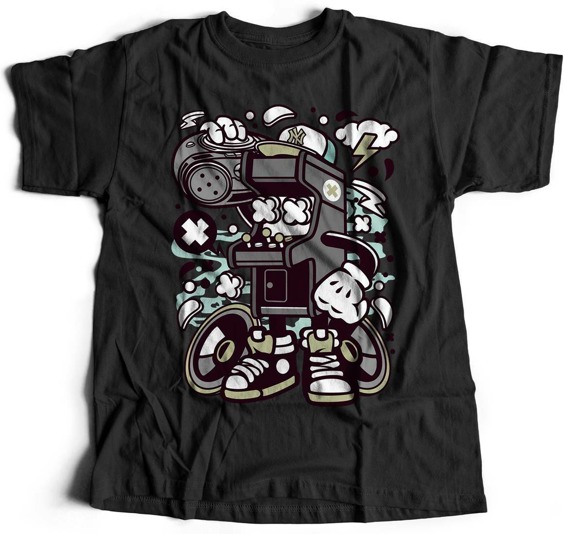 Arcade Game Boombox Geek T-Shirt Over Nerd Video Gamer Retro Club 8 Bit Leg C481 image