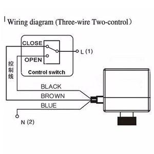 Image 2 - AC220V DN15 DN20 DN25 электрический клапан латунный двухсторонний моторизованный шаровой клапан, три провода, электрический привод с ручным переключателем