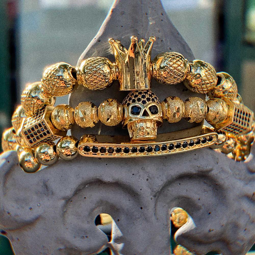 Hot Fashion Men Royal Crown Bracelets Luxury Gold Hematite Braided Charm Bangle