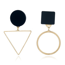 Vintage Personality Asymmetrical Geometric Stud Earring for Women Girl Glamour Simple Round Triangle Jewelry Gift