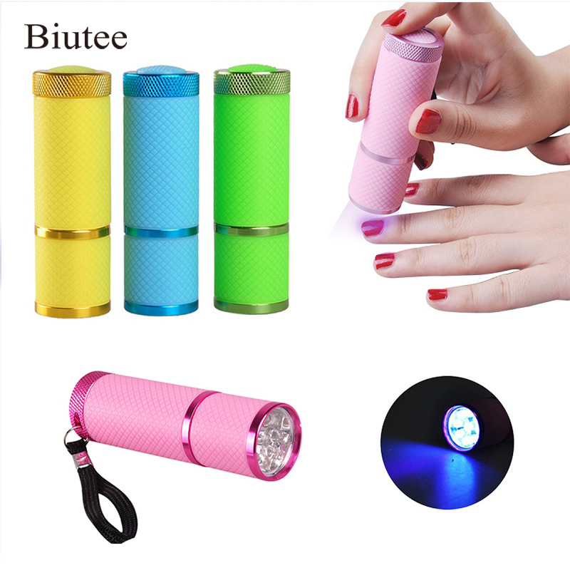 Biutee Nail Dryer Mini LED Flashlight UV Lamp Portable For Nail Gel Fast Dryer Cure 4 Colors Choose Nail Gel Cure Manicure Tool