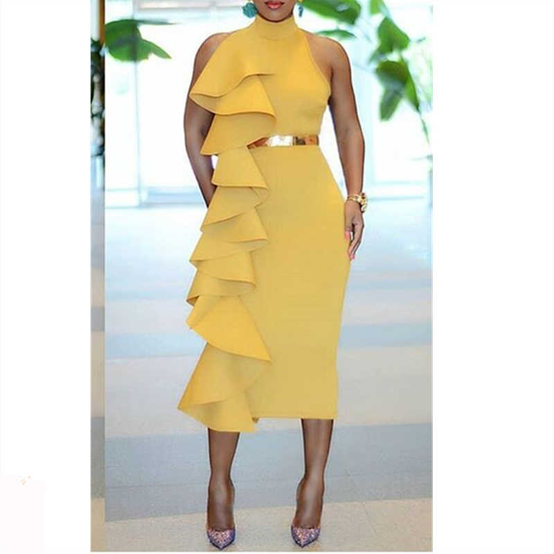 Women Yellow Slim Dress Patchwork Layers Ruffles Bodycon Dinner Evening Party Dresses Sleeveless 2019 Spring Summer New Tunics