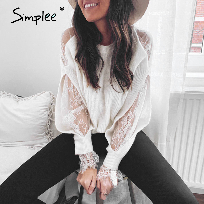 Simplee Vintage Lace Knitted White Women Blouse Shirt Long Sleeve Patchwork Female Tops Shirts Spring Summer Office Ladies Tops