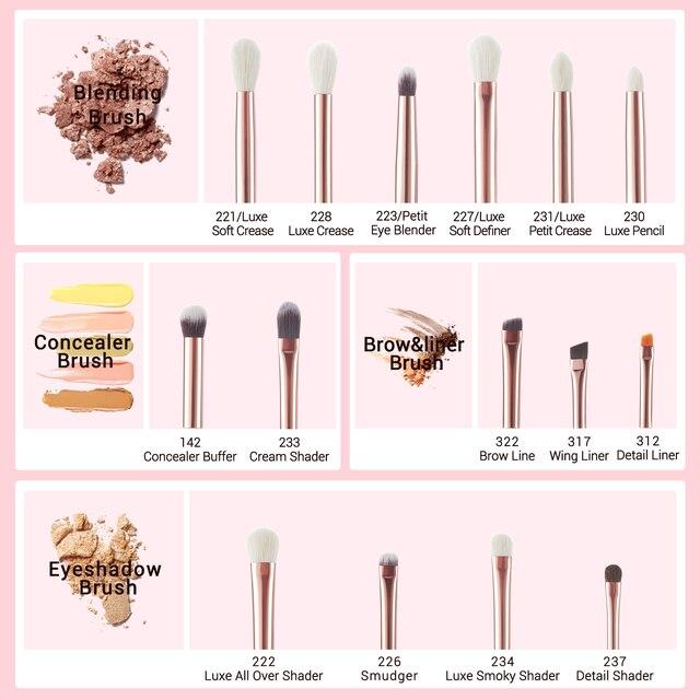 Jessup Professional Makeup Brushes Set 15pcs Pearl White/Rose Gold Eye Shadow Make up Brush Eye Liner Natural-synthetic hair 6